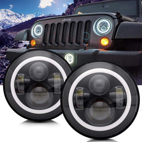 TURBOSII DOT Approved 7'' Round Black LED Headlight with High Low Beam White DRL