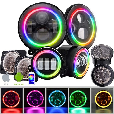 T-Former DOT 7 Inch LED RGB Halo Headlights w/ 4 '' Halo Fog Lights Color Angel