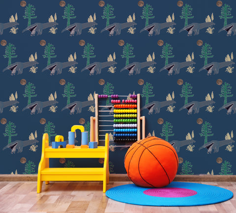 Anteater Wallpaper in children's bedroom