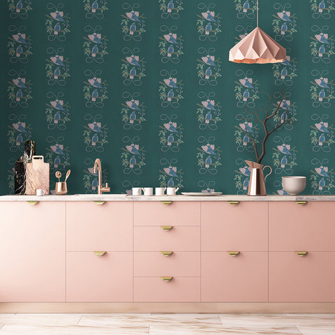 bird wallpaper in pink kitchen