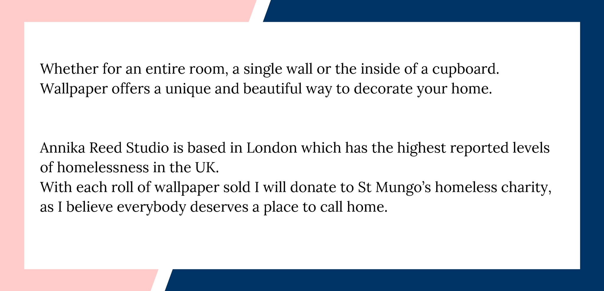 Anika Reed Studio donates to St Mungo's with every roll of wallpaper sold