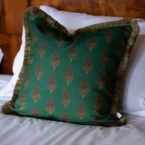 Velvet Cushion - Where the Wild Teasels Were Amber and Umber - Annika Reed Studio