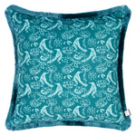 Velvet Cushion - Chattering of Choughs Arsenic Green - Annika Reed Studio