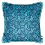 Velvet Cushion - Chattering of Choughs Deco Blue
