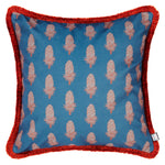 Velvet Cushion - Where the Wild Teasels Were Ibis and Indigo - Annika Reed Studio
