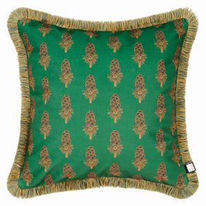 Load image into Gallery viewer, Velvet Cushion - Where the Wild Teasels Were Amber and Umber - Annika Reed Studio