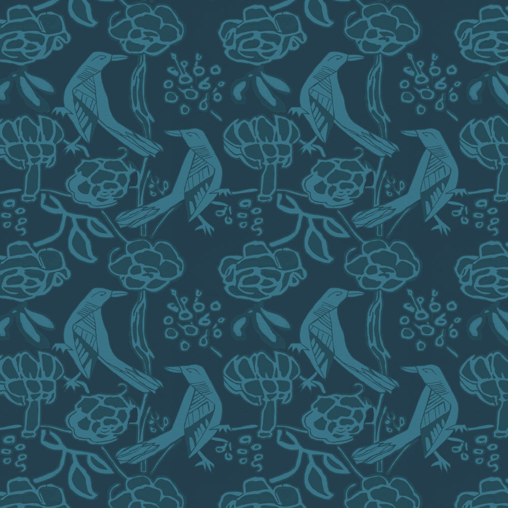 Chattering of Choughs Wallpaper - Deco Blue