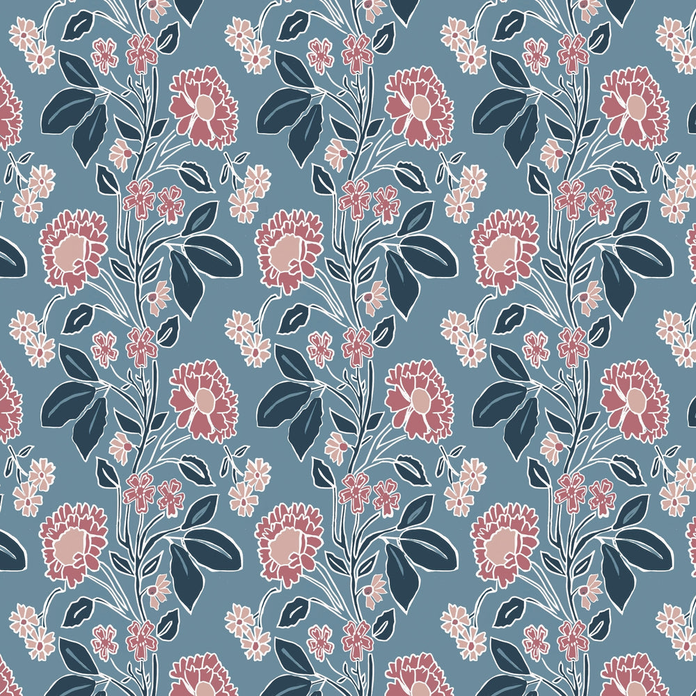 Honiton Lace Wallpaper - Branscombe Blue