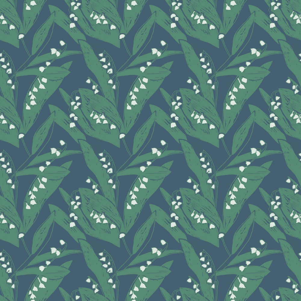 Load image into Gallery viewer, Lily of the Valley Wallpaper- Leaves at Midnight