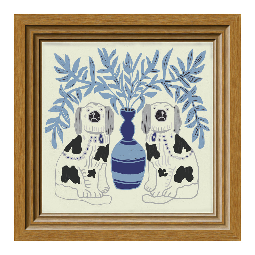 Load image into Gallery viewer, Giclée Print Pair of Dogs - Delft Blue