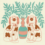 Giclée Print Pair of Dogs - Vintage Brown