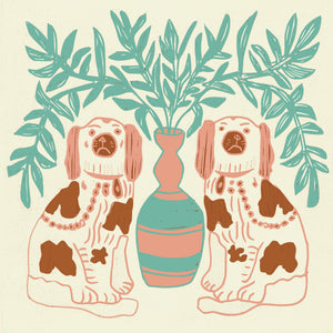 Load image into Gallery viewer, Giclée Print Pair of Dogs - Vintage Brown