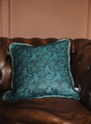 Velvet Cushion - Chattering of Choughs Deco Blue - Annika Reed Studio