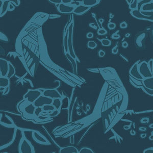 Chattering of Choughs - Deco Blue - Annika Reed Studio