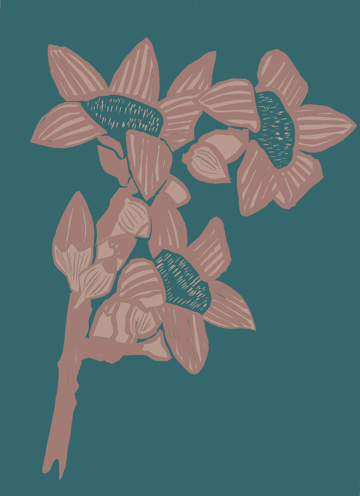 Giclée Print The Red Cotton Tree - Indian Teal