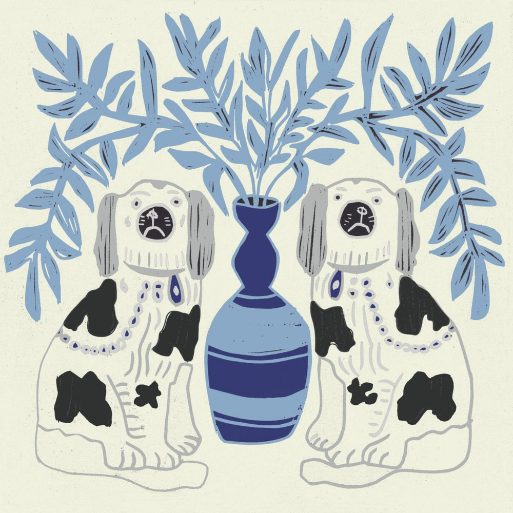 Pair of Dogs Wallpaper - Delft Blue