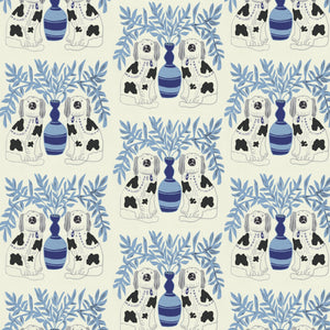 Load image into Gallery viewer, Pair of Dogs Wallpaper - Delft Blue
