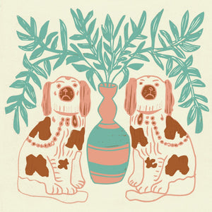Load image into Gallery viewer, Pair of Dogs Wallpaper - Vintage Brown