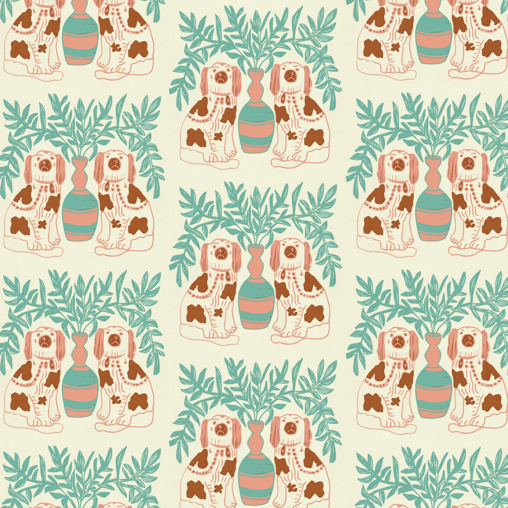 Pair of Dogs Wallpaper - Vintage Brown