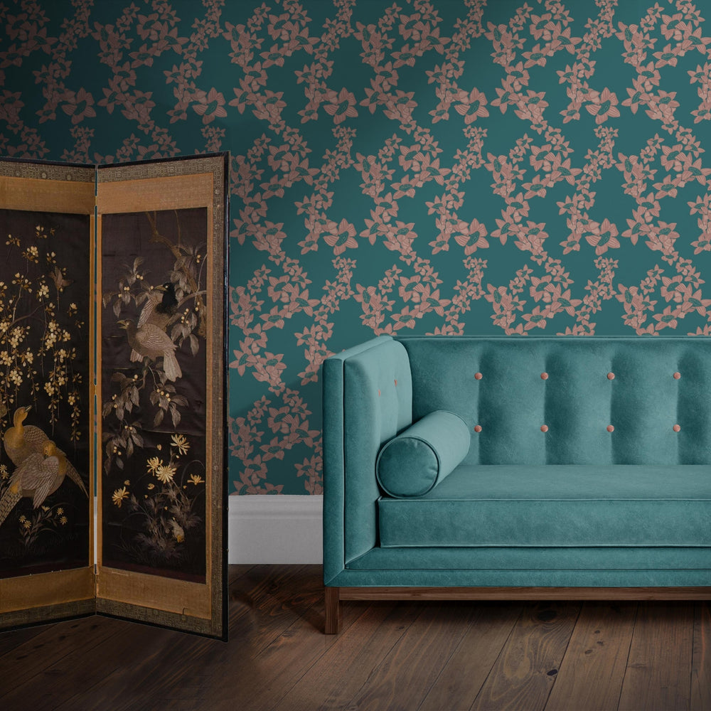 Load image into Gallery viewer, The Red Cotton Tree Wallpaper - Indian Teal