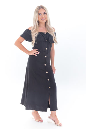 Black Bandeau Off Shoulder Midi Dress