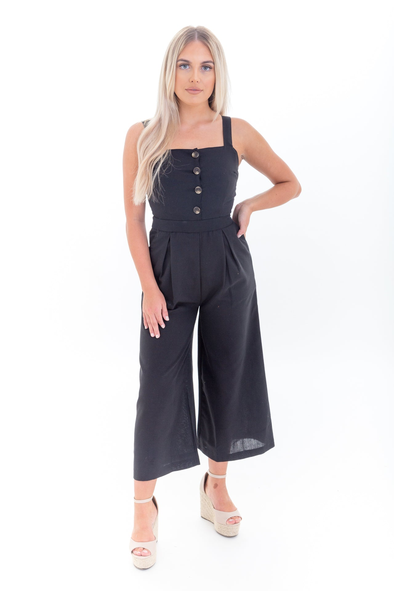 Black Cropped Leg Jumpsuit with Buttons