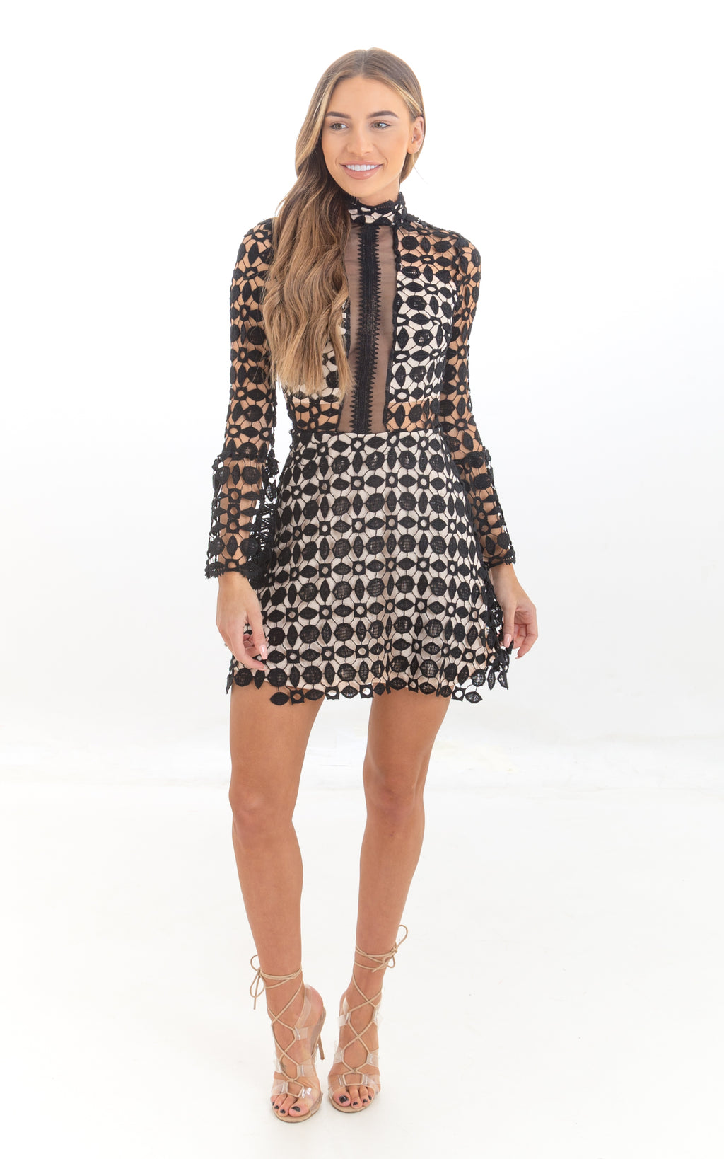 Black & Nude Long Sleeve Crochet Lace Mini Dress
