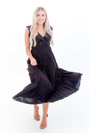 Black Pleated Dress with Ruffle Detail and V Front & Back