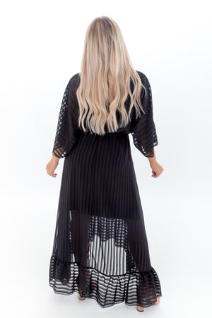 Black Plunge Ruffle Hem Maxi Dress