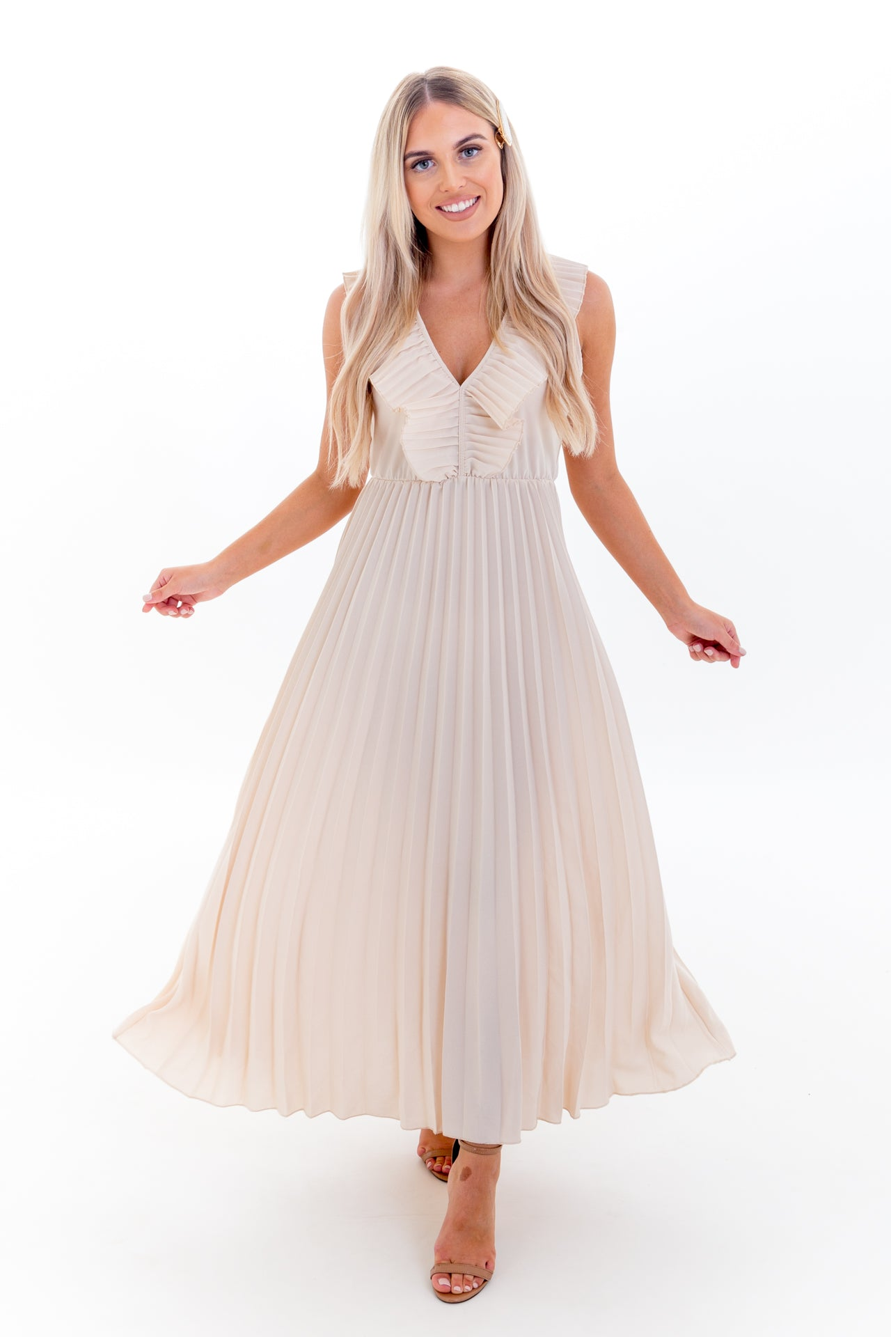 Beige Pleated Dress with Ruffle Detail and V Front & Back