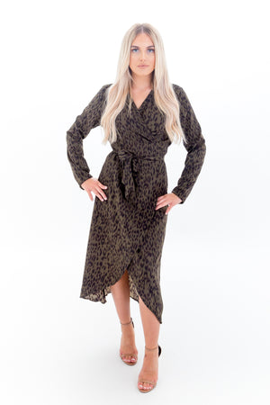 Green Leopard Print Long Sleeve Wrap Dress