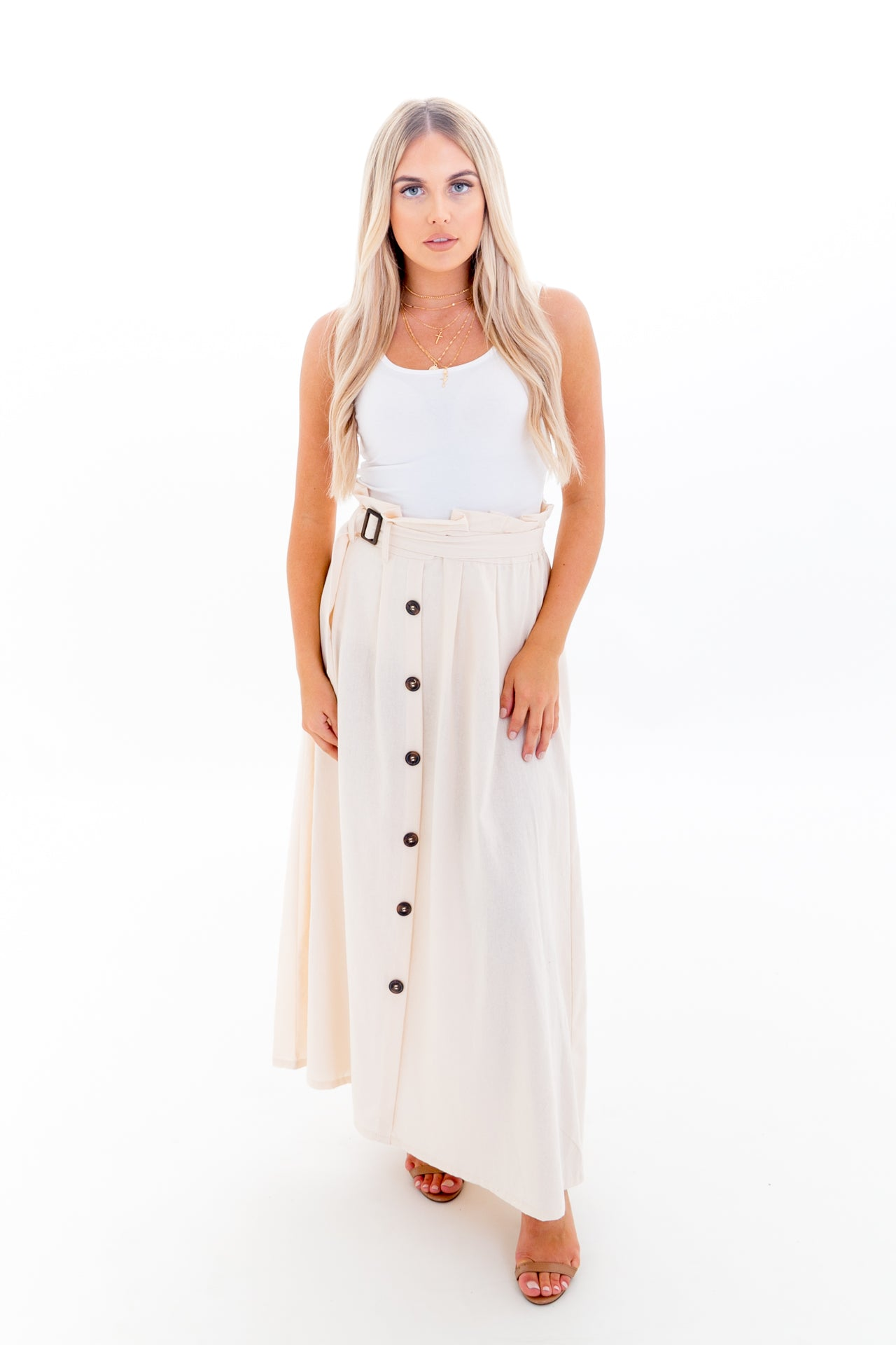 Maxi Skirt with High Waist and Button Down Front in Neutral