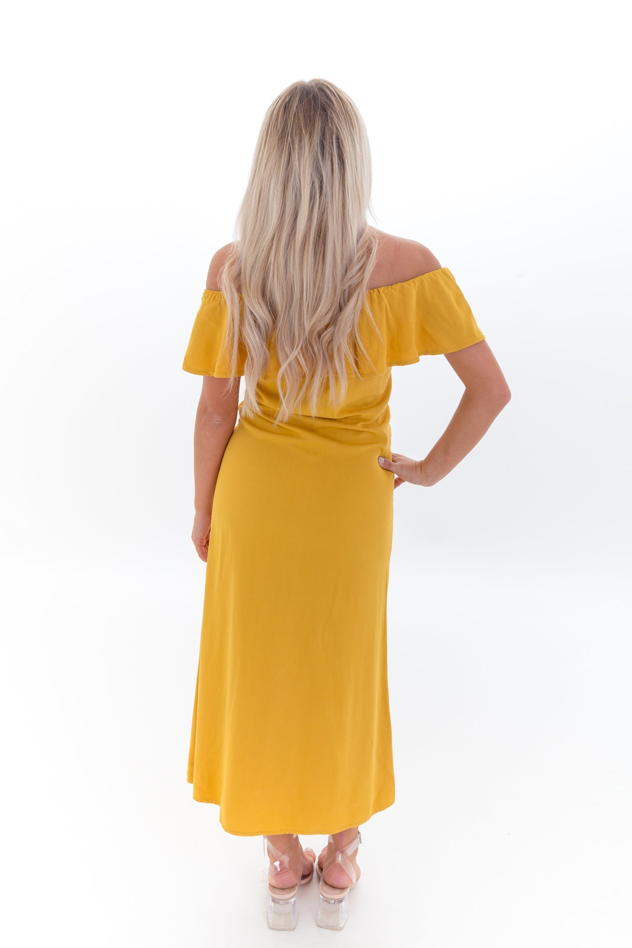 Mustard Bandeau Off Shoulder Midi Dress
