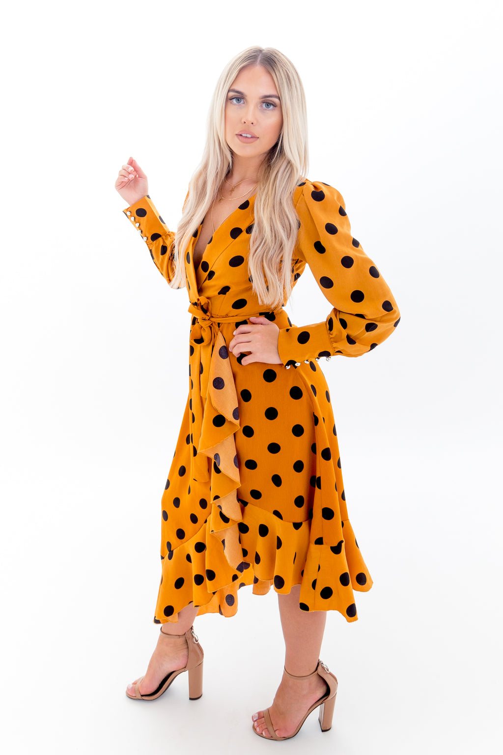 Polka Dot Wrap Dress with Long Sleeves, Plunge Front and Cuff Detail