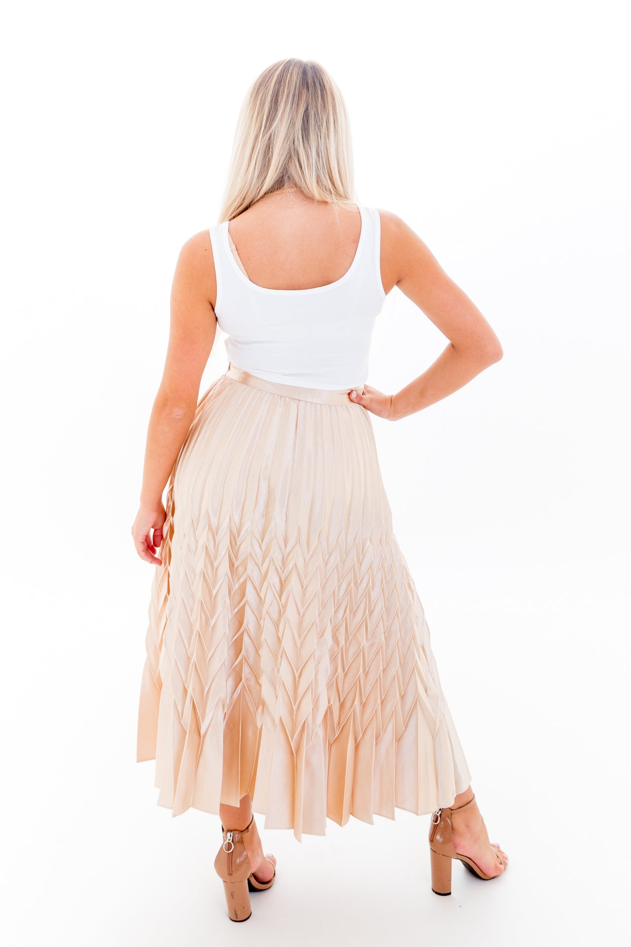 Champagne Silk Pleated Maxi Skirt