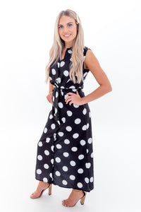 Black & White Polka Dot Midi Dress