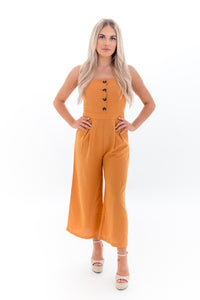 Orange Cropped Leg Jumpsuit with Buttons