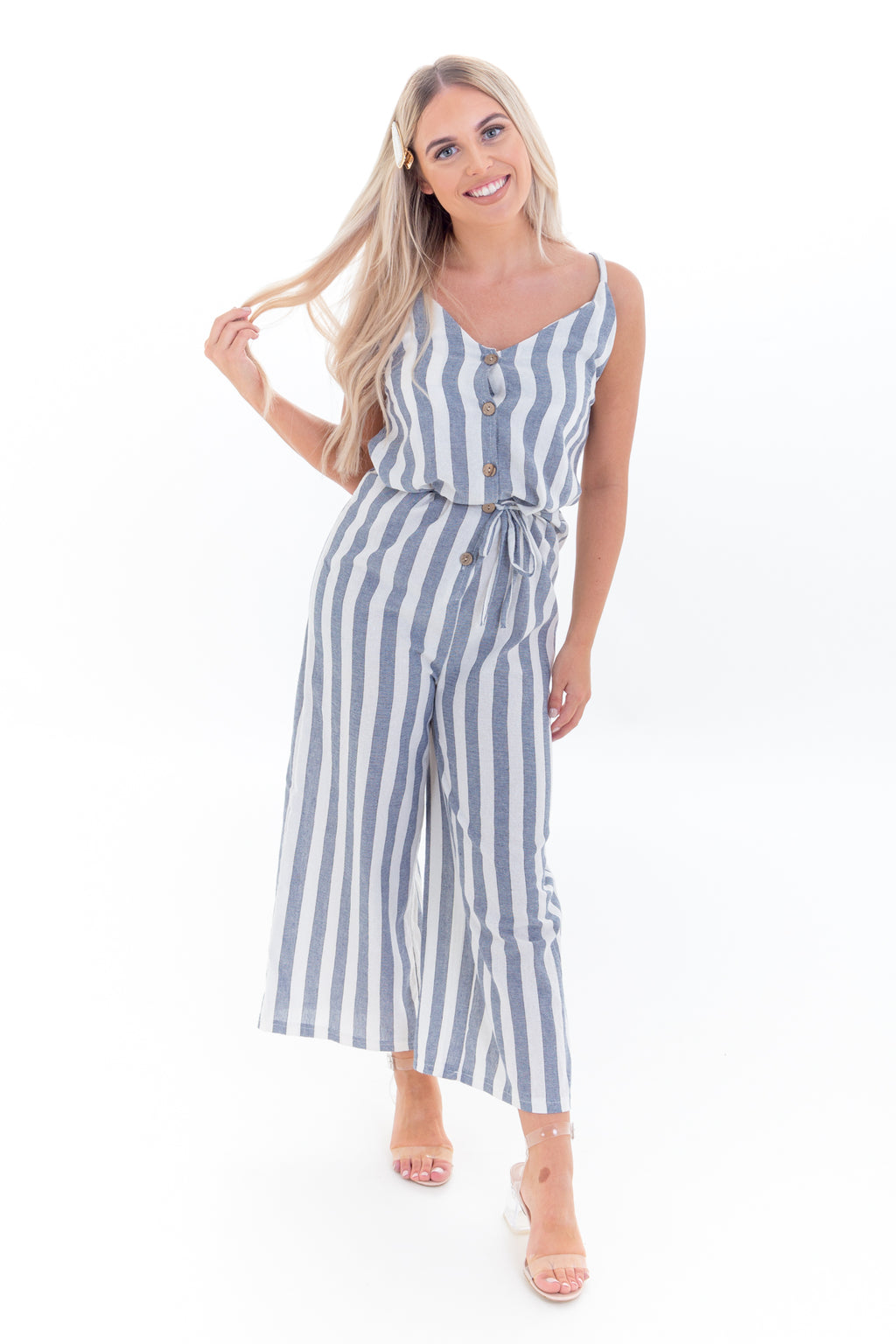 Blue & White Stripe Wide Leg Jumpsuit