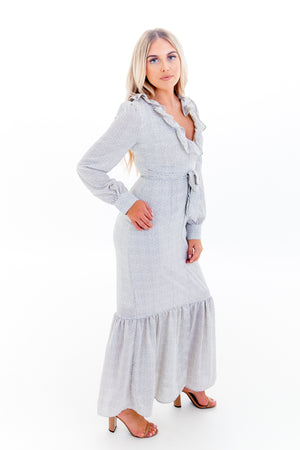 White with Black Polka Dot Long Sleeve Ruffle Hem Maxi Dress