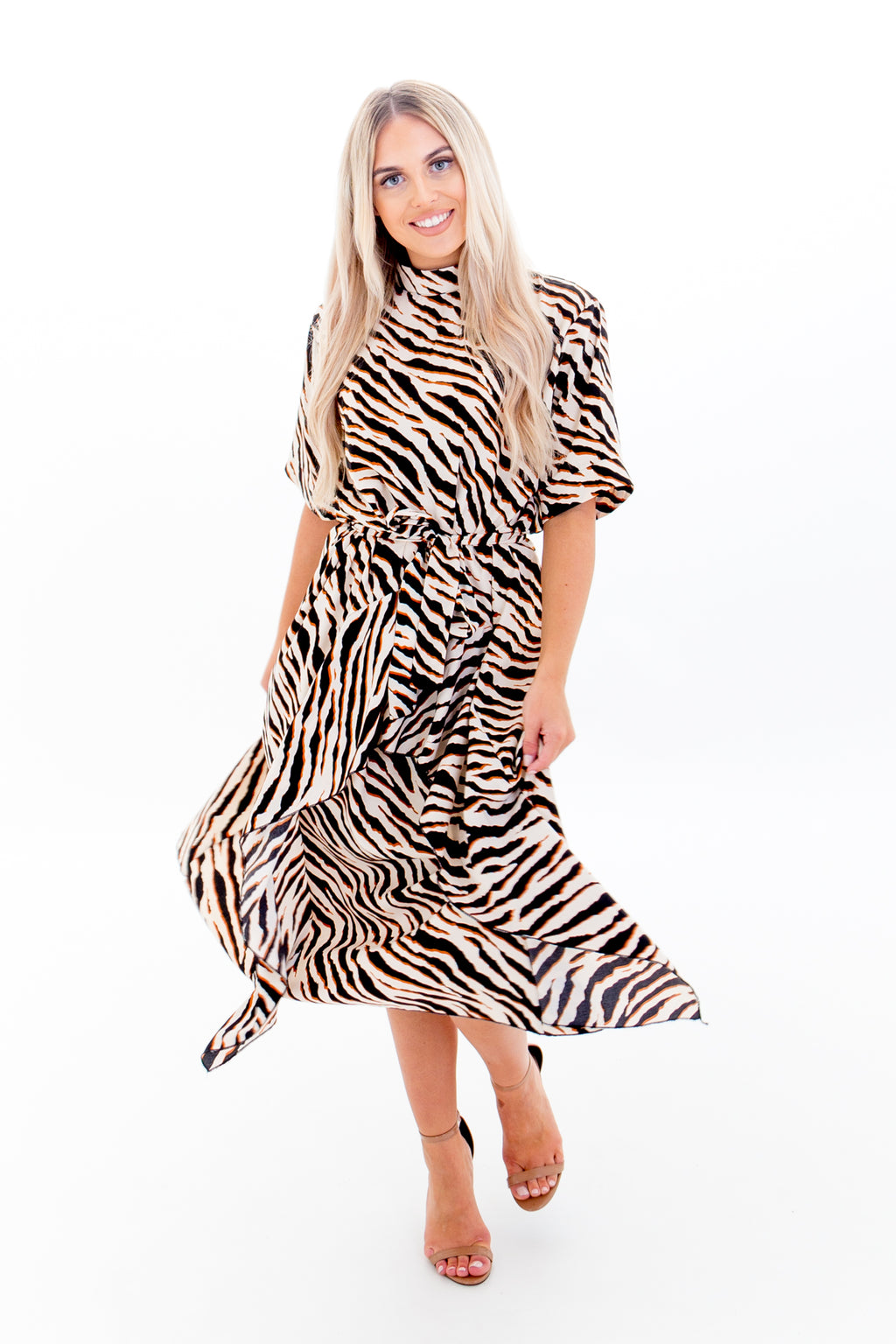 Zebra Print Tie Waist Midi Dress