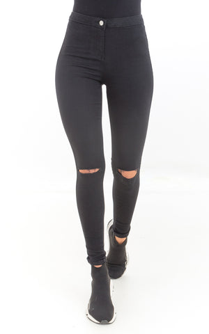Black Mid Rise Ripped Knee Jeans