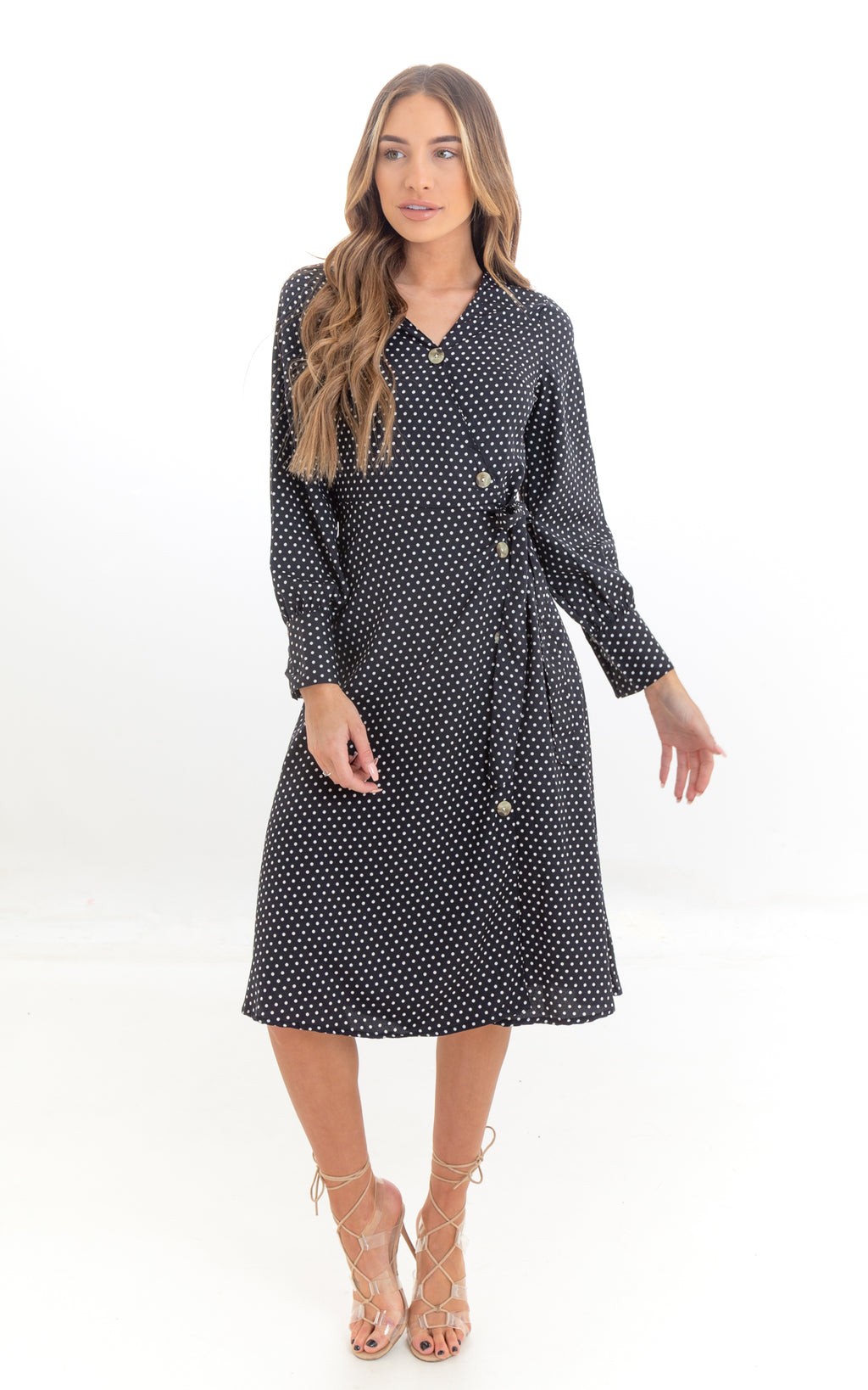 Polka Dot Side Wrap Midi Dress