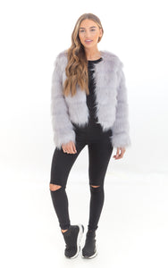 Grey Fluffy Faux Fur Coat