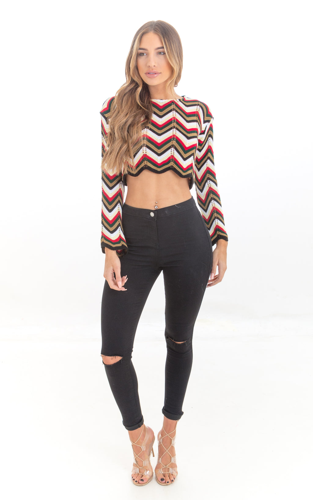 Contrast Stripe Crop Jumper