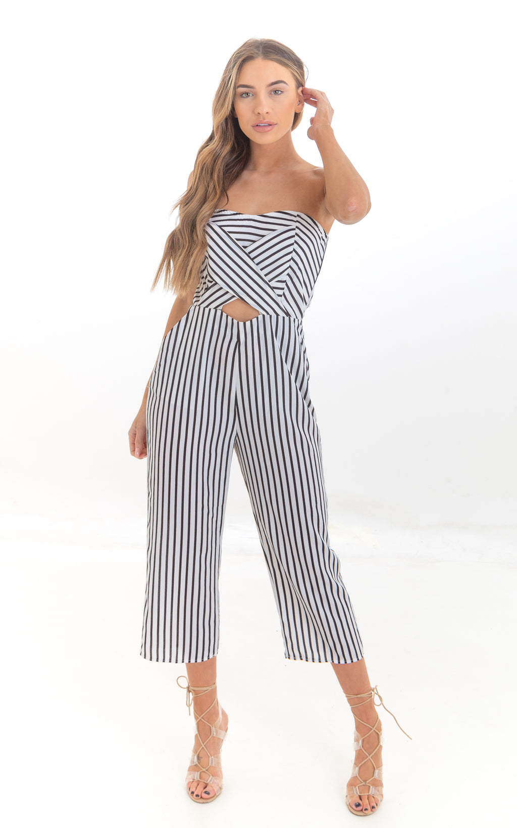 Black & White Stripe Bandeau Jumpsuit