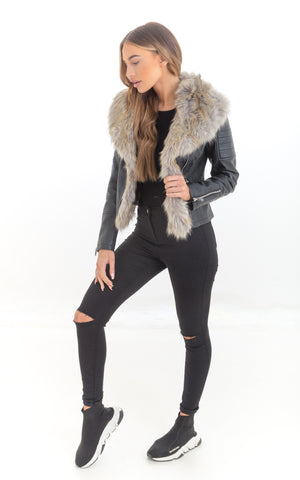 Faux Leather Jacket with Faux Fur Collar