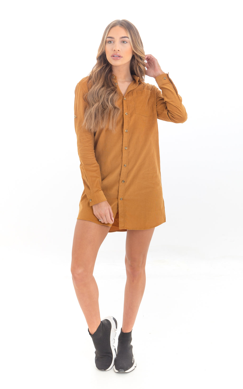 Mustard Corduroy Shirt Dress
