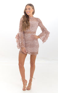 Dusky Pink Long Sleeve Crochet Lace Mini Dress