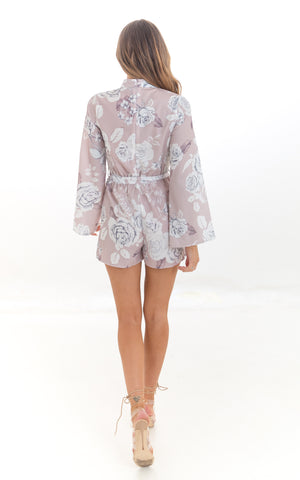 Dusky Pink High Neck Floral Playsuit