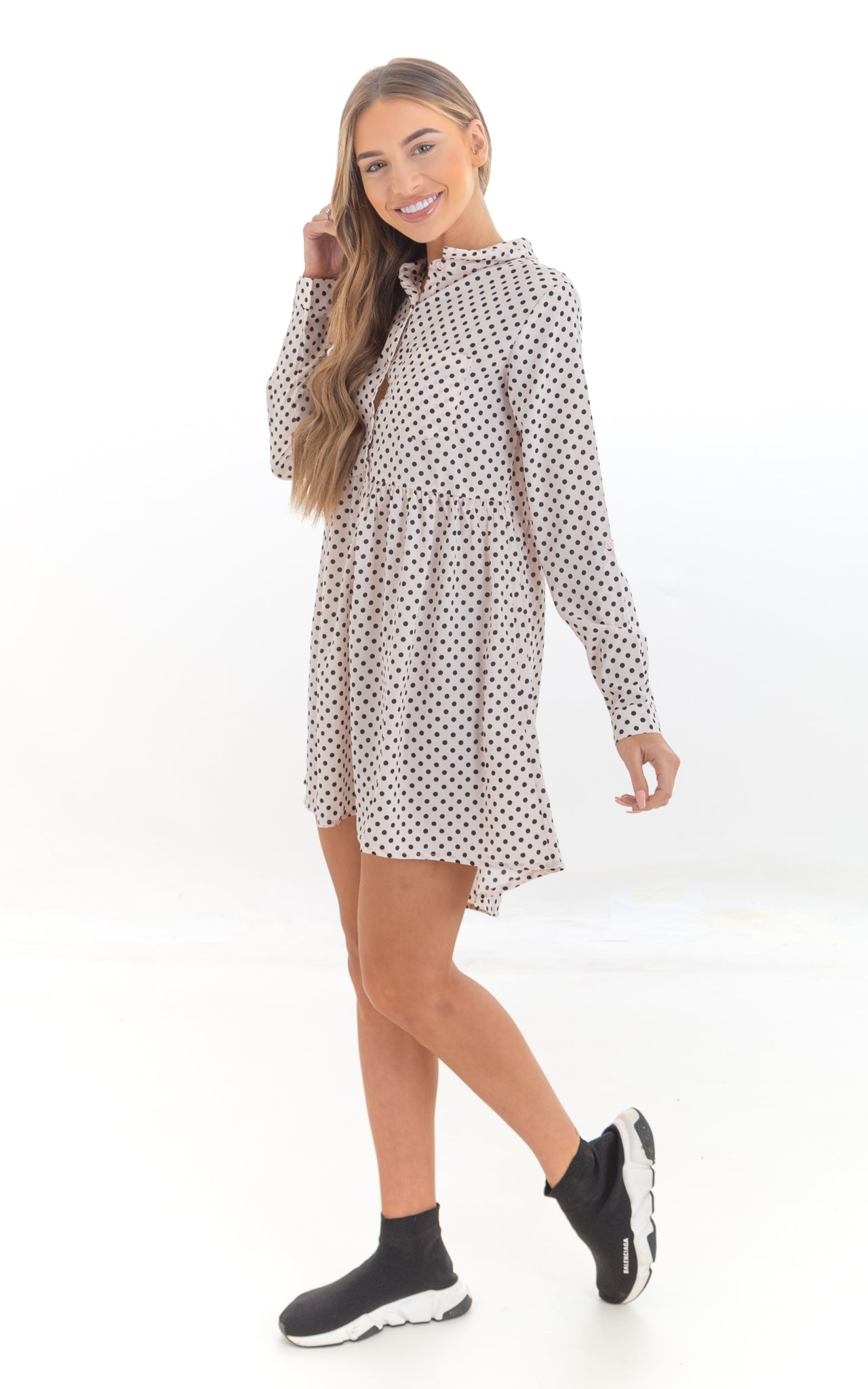 Polka Dot Smock Shirt Dress